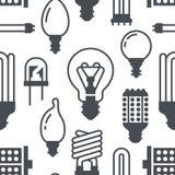 Modèle sans couture d'ampoules avec les icônes plates de glyph Types de lampes, fluorescent menés, filament, halogène, diode et a illustration de vecteur