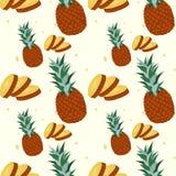 Modèle sans couture d'ananas de fruit tropical d'ananas sur le fond blanc Illustration de vecteur pour la copie de textile, papie Photographie stock libre de droits