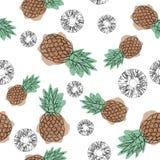 Modèle sans couture d'ananas sur un fond blanc Conception pour des textiles, bannières, affiches Dessin au trait continu illustration stock