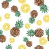 Modèle sans couture d'ananas sur un fond blanc Conception pour des textiles, bannières, affiches Illustration de vecteur Icône d' illustration stock