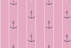 Modèle sans couture d'ancre et de bateau sur la rayure sur le rose doux f illustration stock