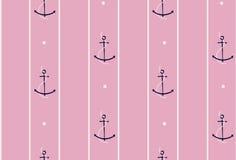 Modèle sans couture d'ancre et de bateau sur la rayure sur le rose doux f illustration de vecteur