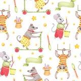 Modèle sans couture d'animal de cirque d'aquarelle avec le lapin de souris de chien de singe dans le chapeau d'isolement illustration de vecteur
