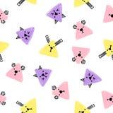 Modèle sans couture d'animaux de triangle de Kawaii Fond d'aspiration de main de vecteur avec les visages des chats, des chiens e illustration libre de droits