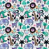 Modèle sans couture d'animaux tropicaux drôles dans le style décoratif de bande dessinée Illustration de vecteur Photographie stock libre de droits