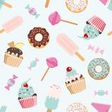 Modèle sans couture d'anniversaire avec des bonbons Girly Pour la copie et le Web illustration stock