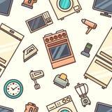 Modèle sans couture d'appareils ménagers Images libres de droits