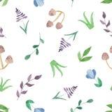 Modèle sans couture d'aquarelle avec des fleurs, champignons, feuilles, branches illustration libre de droits