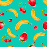 Modèle sans couture d'aquarelle avec des fraises, des bananes et des cerises sur le fond de turquoise Photos stock