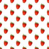 Modèle sans couture d'aquarelle avec des fraises Fond de vecteur Texture tirée par la main Image libre de droits