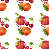 Modèle sans couture d'aquarelle avec des fruits Apple Cherry Pear Photos stock