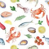 Modèle sans couture d'aquarelle avec des fruits de mer illustration stock
