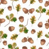 Modèle sans couture d'aquarelle avec des glands et des feuilles et des branches de chêne Beau fond d'automne illustration de vecteur