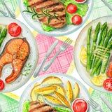 Modèle sans couture d'aquarelle avec des plats, des serviettes et la vaisselle illustration libre de droits