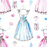 Modèle sans couture d'aquarelle avec des robes de ballet Image libre de droits