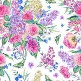 Modèle sans couture d'aquarelle avec des roses, lilas Image libre de droits