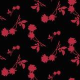 Modèle sans couture d'aquarelle avec des silhouettes des roses et des feuilles rouge foncé sur le fond noir Motifs chinois Images stock