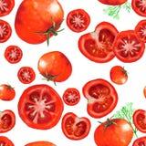 Modèle sans couture d'aquarelle avec des tomates Image stock