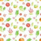 Modèle sans couture d'aquarelle avec la crevette, la chaux, la tomate, la salade, le petit pain et les herbes Roue dentée illustration libre de droits