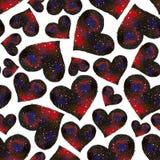 Modèle sans couture d'aquarelle avec le coeur rouge et rose sur le CCB blanc Image libre de droits