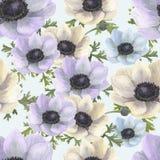Modèle sans couture d'aquarelle avec les anémones blanches, bleues et violettes Illustration florale tirée par la main avec le fo Photographie stock libre de droits