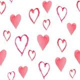 Modèle sans couture d'aquarelle avec les coeurs rouges Image stock