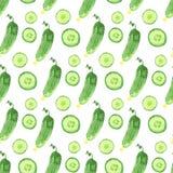 Modèle sans couture d'aquarelle avec les concombres verts Illustration saine tirée par la main de nourriture de vecteur illustration stock