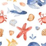 Modèle sans couture d'aquarelle avec les créatures sous-marines d'enfants mignons de bande dessinée illustration de vecteur