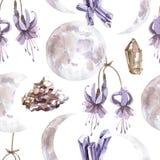 Modèle sans couture d'aquarelle avec les cristaux brillants transparents et les phases de lune photo stock