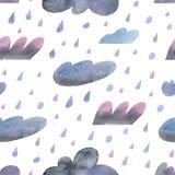 Modèle sans couture d'aquarelle avec les nuages pluvieux tirés par la main illustration de vecteur