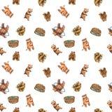 Modèle sans couture d'aquarelle avec les petits animaux d'ours mignons illustration stock