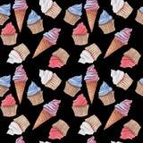 Modèle sans couture d'aquarelle avec les petits gâteaux et la crème glacée rouges, bleus et blancs photos stock