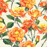 Modèle sans couture d'aquarelle avec les roses jaunes Images libres de droits