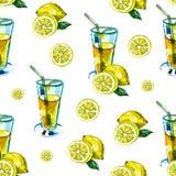Modèle sans couture d'aquarelle avec une boisson, cocktail avec le citron, glace, mojito, smoothies Citron de fruit, feuille en b illustration de vecteur