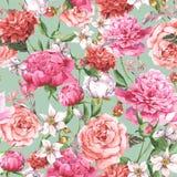 Modèle sans couture d'aquarelle d'été avec le rose Photos stock