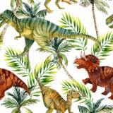 Modèle sans couture d'aquarelle de dinosaure