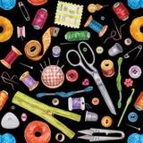 Modèle sans couture d'aquarelle de divers outils de couture Kit de couture illustration stock