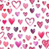 Modèle sans couture d'aquarelle de jour de valentines illustration stock