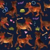 Modèle sans couture d'aquarelle mignonne avec des chiens et choses pour là Image libre de droits