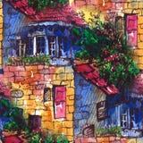 Modèle sans couture d'aquarelle paysage d'été avec le bâtiment Illustration d'aquarelle Graphique de carte de voeux de carte post illustration stock
