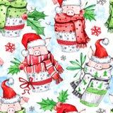 Modèle sans couture d'aquarelle Porcs mignons avec l'écharpe en petits gâteaux An neuf Illustration de célébration Joyeux Noël illustration de vecteur