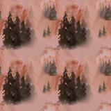 modèle sans couture d'aquarelle tirée par la main dans la forêt de brouillard illustration libre de droits
