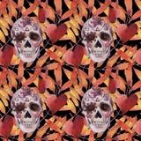Modèle sans couture d'aquarelle Veille de la toussaint Crâne fantasmagorique avec les yeux et les feuilles d'automne légers illustration libre de droits