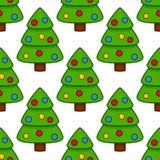 Modèle sans couture d'arbre de Joyeux Noël Photos stock
