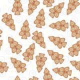 Modèle sans couture d'arbre de Noël de pain de gingembre Images stock