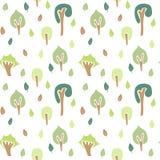 Modèle sans couture d'arbre forestier, couleurs claires Photo stock