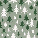 Modèle sans couture d'arbres de Noël vert et blanc illustration stock