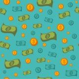 Modèle sans couture d'argent avec des pièces de monnaie et des billets de banque illustration de vecteur