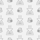Modèle sans couture d'Aromatherapy Ligne icône d'huile essentielle Illustration de vecteur Image stock
