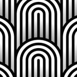Modèle sans couture d'art op de vecteur abstrait Ornement noir et blanc graphique monochrome Illusion optique rayée répétant la t illustration libre de droits